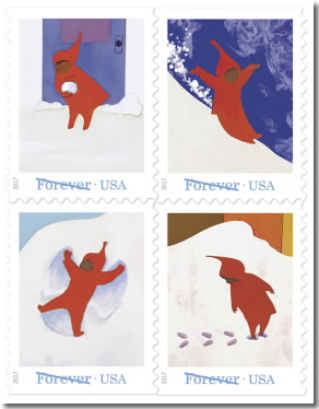 Snowy Day postage stamps