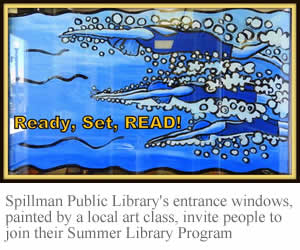 Spillman Public Library's painted entrance window