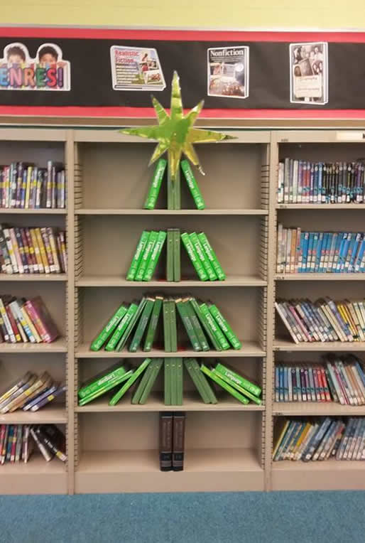 Christmas Tree book display on shelf
